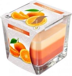 Obrázek Bispol tříbarevná svíčka ve skle pomeranč