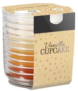 Obrázek Bispol tříbarevná svíčka ve skle -  vanilka